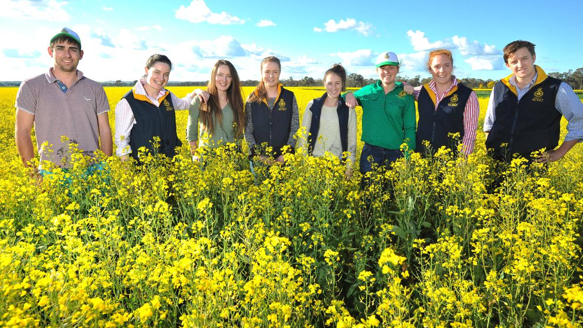 Charles Sturt University students (from left) Albert Gorman, Eliza Star, Mikaela Baker, Brittany Bickford, Hannah Powe, Alex Trinder, Jessica Kirkpatrick, Leigh O'Sullivan are organising an agricultural networking event. Picture: Kieren L Tilly